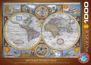 Eur-6000-1271,Puzzel anbtique world map eurographics 1000 stuks